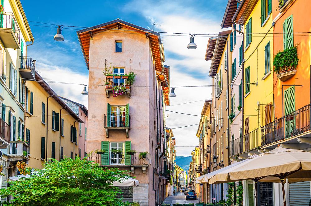 beautiful colored buildings in Brescia