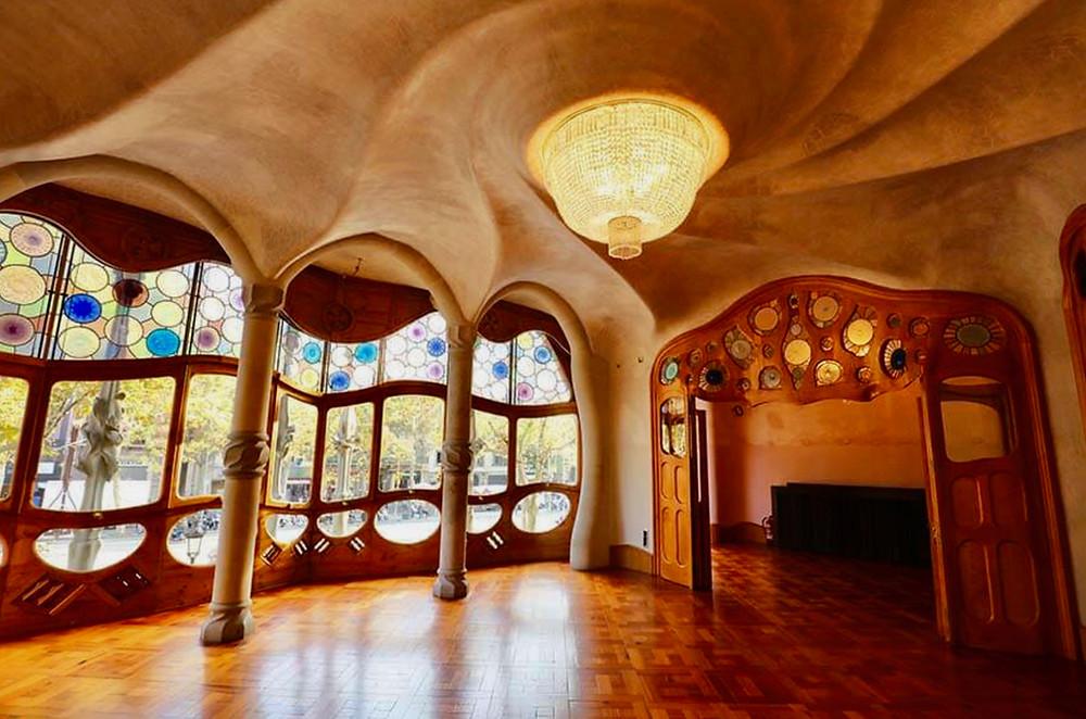 interior of Casa Battlo, a Gaudi-designed landmark in Barcelona Spain