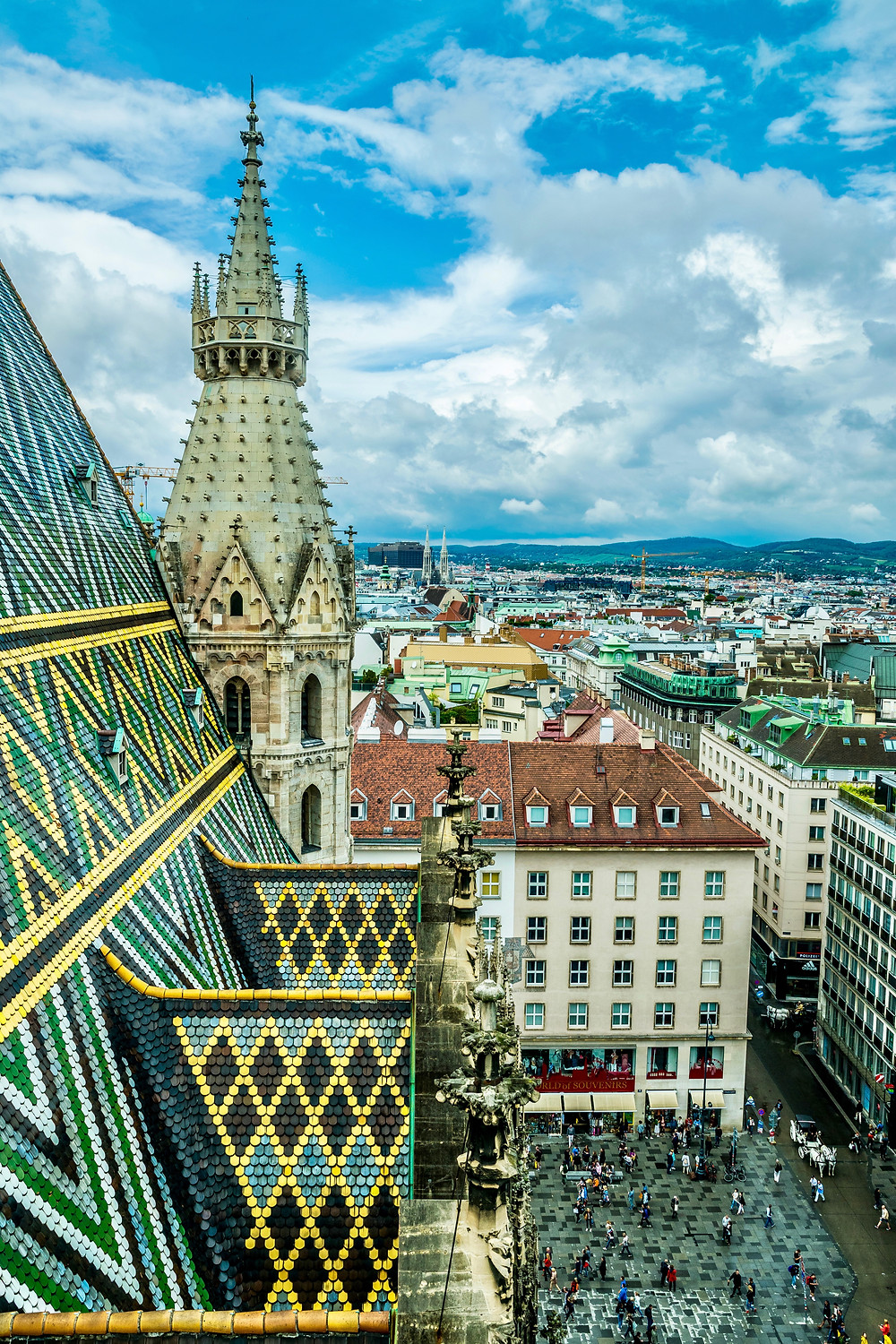 close up of St. Stephen's tiled roof from the tower