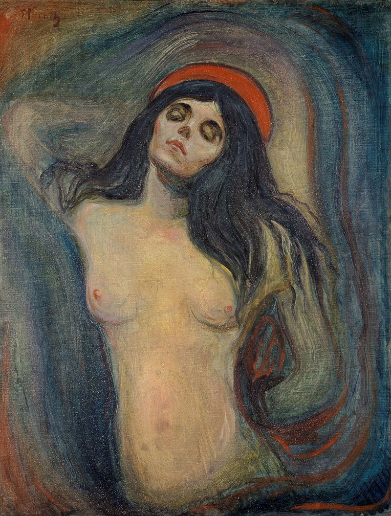 Edvard Munch, Madonna, 1894 -- there are five versions of Munch's famous femme fatale painting.