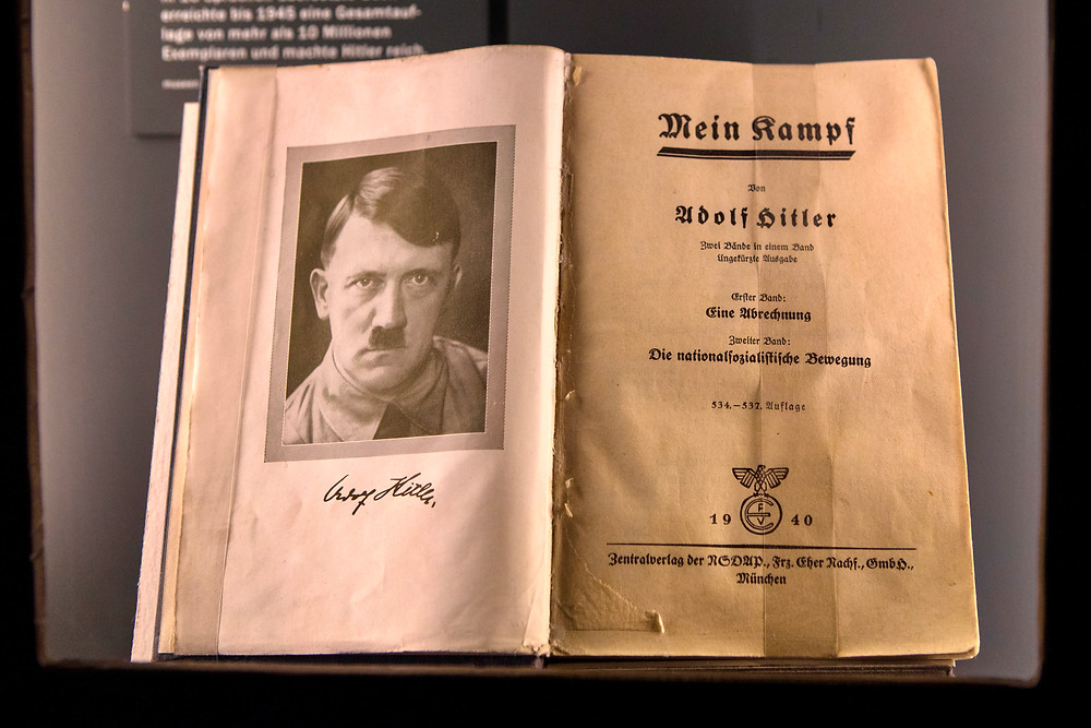An original edition of Mein Kampf - the infamous book by Adolf Hitler, on display at the Documentation Center