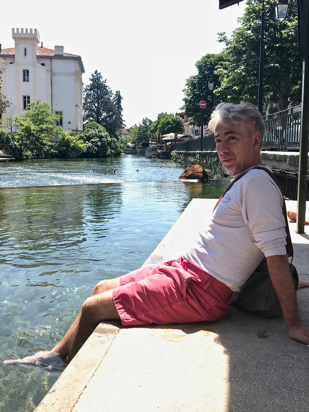 my travel partner cooling off on a hot June day in Isle sur la Sorgue