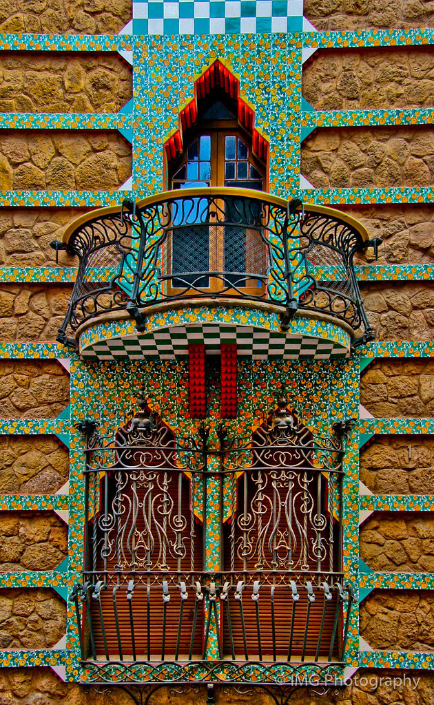 a gorgeous window at Casa Vicens, with marigold tiles and elaborate wrought iron
