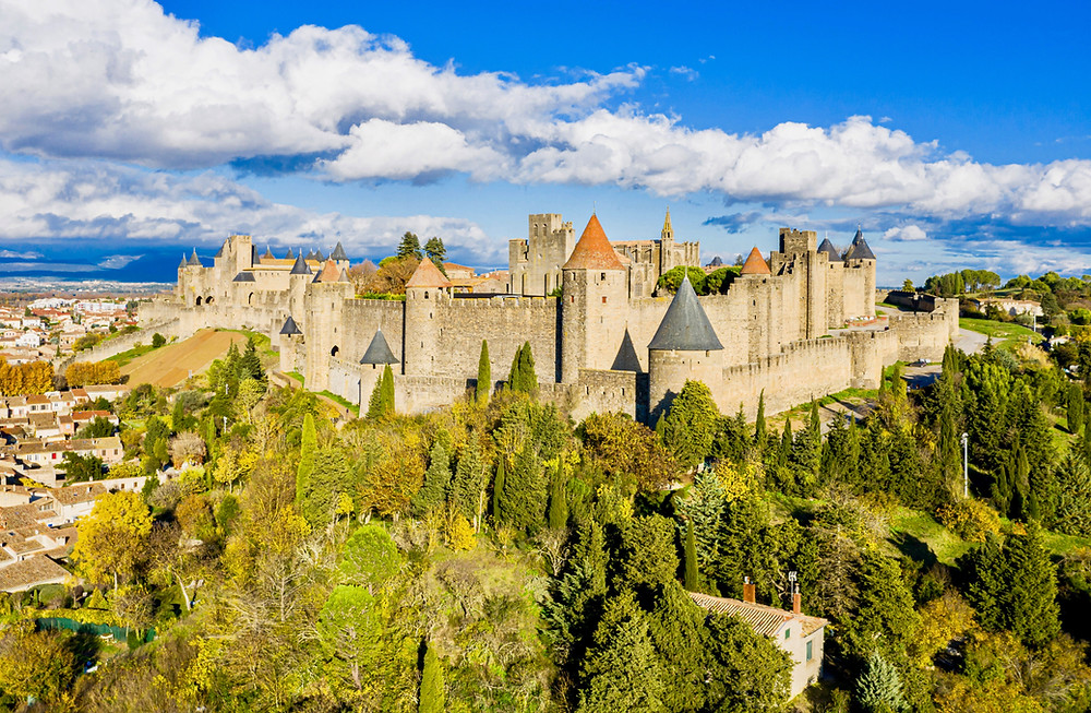 the fortified city walls and towers of the UNESCO-listed town of Carcassonne