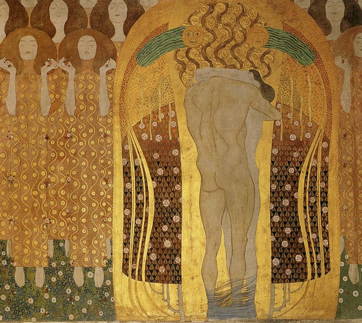 Klimt, detail from the Beethoven Frieze, in the Vienna Secession Museum