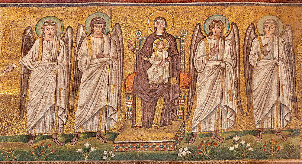 mosaic of Madonna among the angels in the Basilica of Sant'Apollinare Nuovo