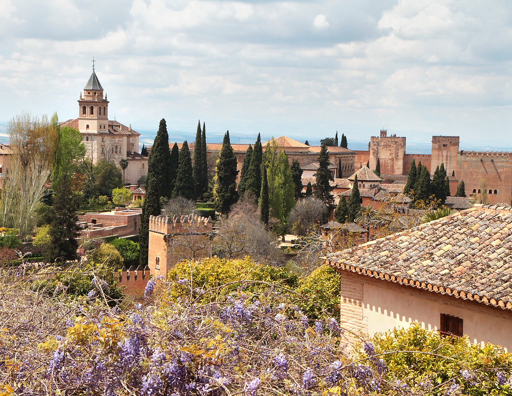 view of the Alhambra from Generalife Gardens