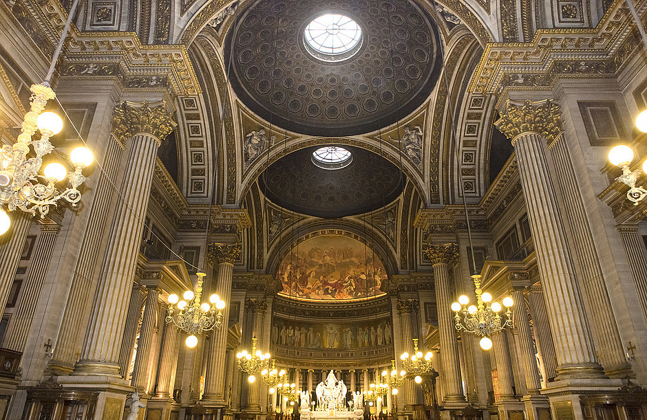 the interior nave and domes of La Madeleine Church