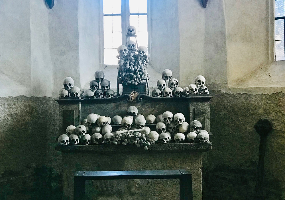 you can peek through a tiny window to see actual skulls at St. Michaels Kirche in the Wachau Valley