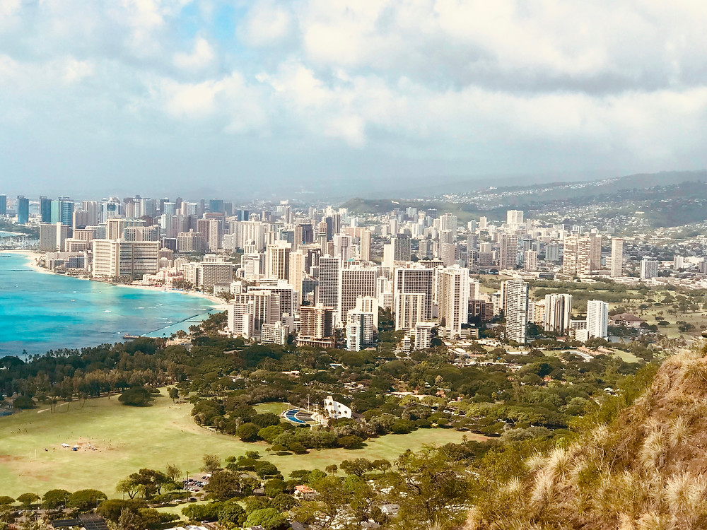view of Honolulu from Diamondhead Crater
