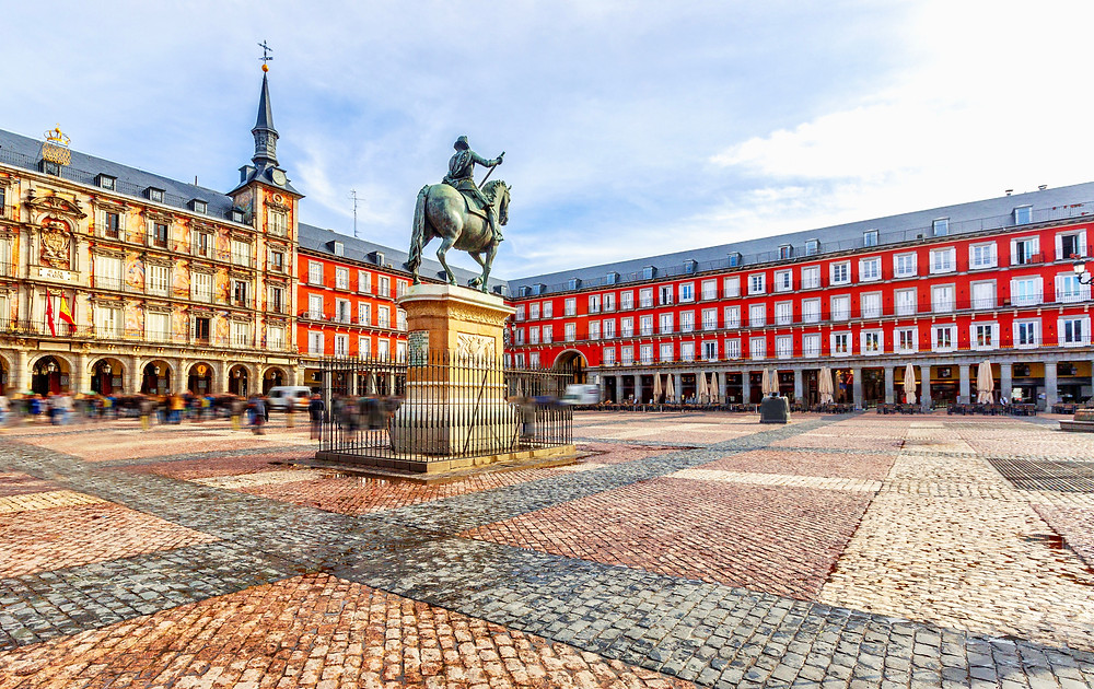 the arcaded Plaza Mayor in Madrid