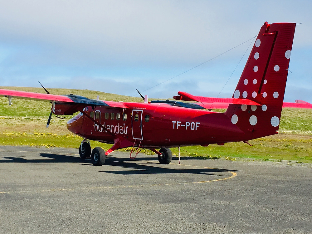 our tiny red plane to fly to Grimsey Island