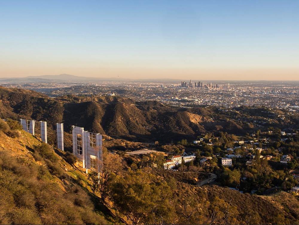 view from the Hollywood Sign in Los Angeles