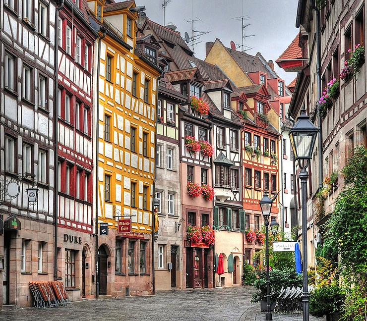 colorful Weissgerbergasse Street in Nuremberg Germany