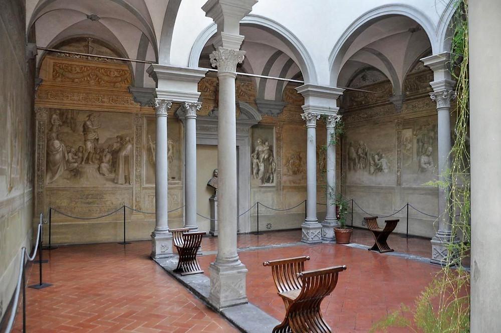 Cloister of the Scalzo with Andrea del Sarto frescos