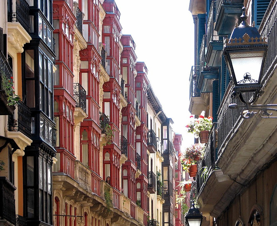 Casco Viejo facades in Bilbao Spain