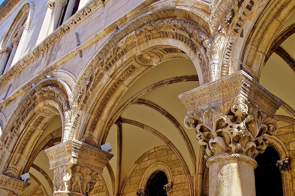 ornate columns on the Rector's Palace
