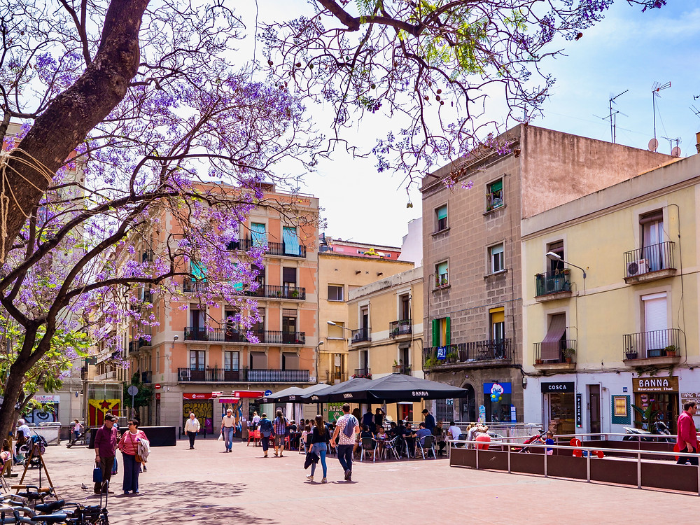 pretty square in the Gracia neighborhood of Barcelona