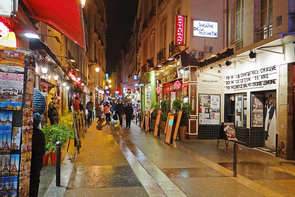 the gaudy Rue de la Huchette in Paris