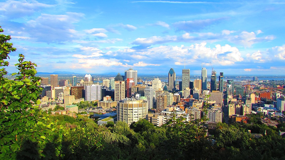 view of Montreal from Mount Royal Chaletl