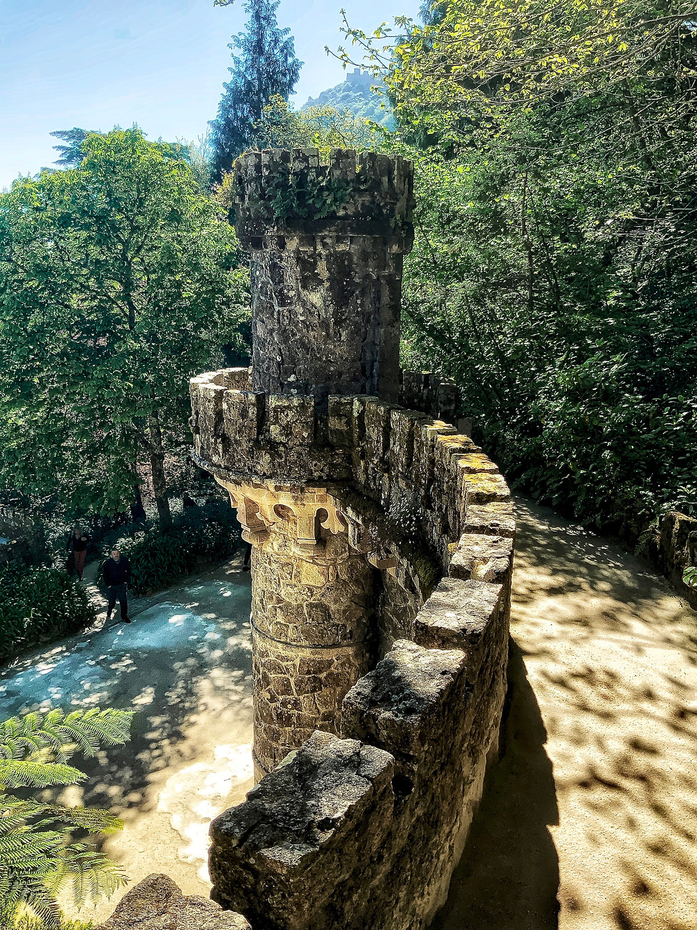 the Tower of Regaleira, with a good view from the top of Sintra and the Moorish Castle