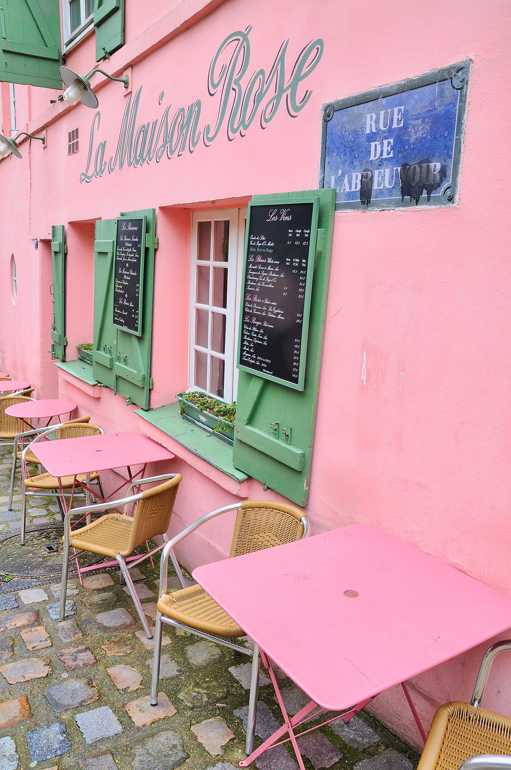 La Maison Rose, the Pink House -- a restaurant once frequented by Picasso