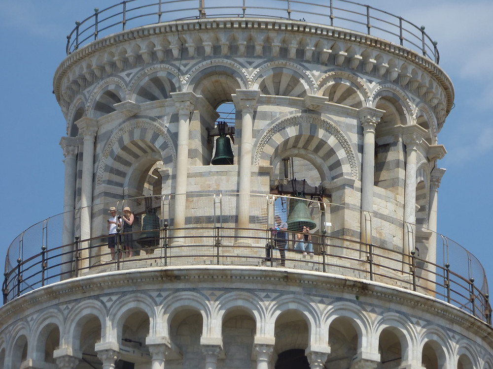 the viewing terrace at the top of the Leaning Tower of Pisa