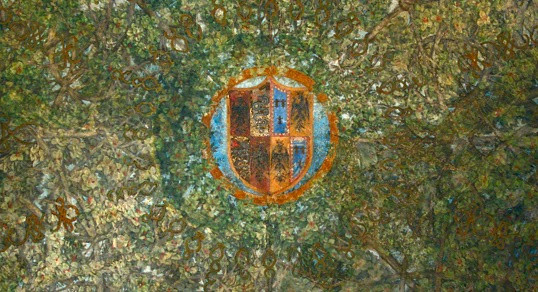 heraldic coat of arms in the center of the ceiling