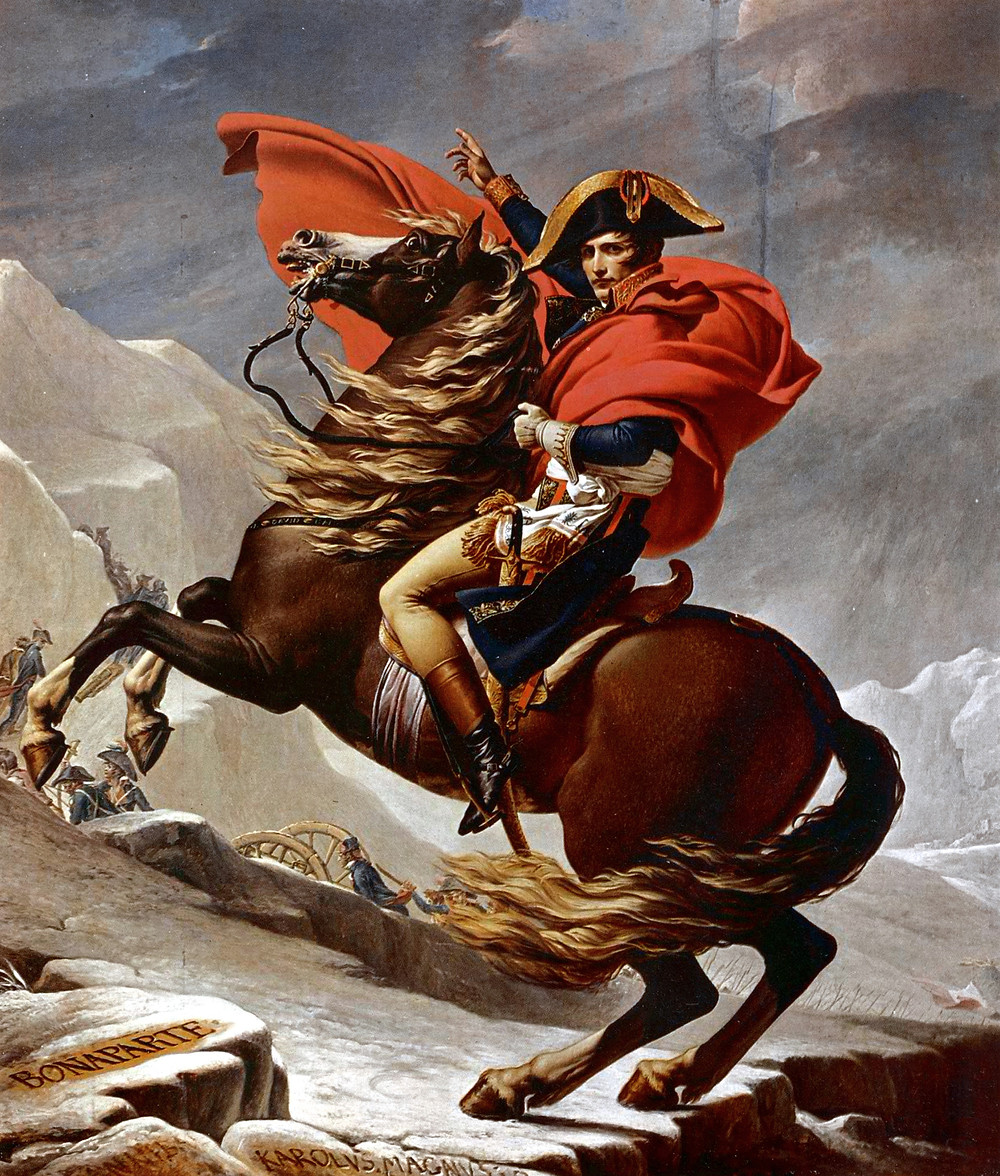 Jacques Louis David, Napoleon Crossing the Alps, 1901-05 -- in the Louvre