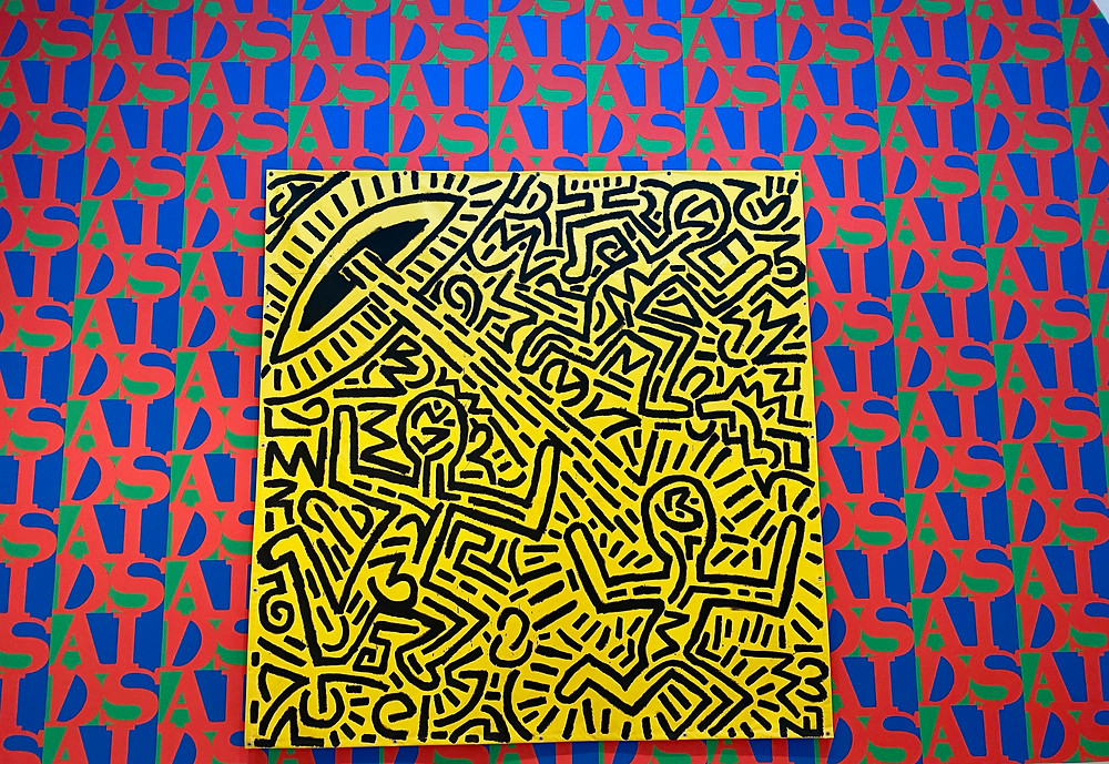 AIDS Wallpaper with a Keith Haring painting