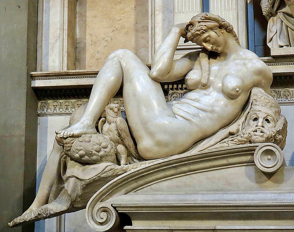 the figure of Night on Giuliano de Medici tomb in the Medici Chapel in Florence