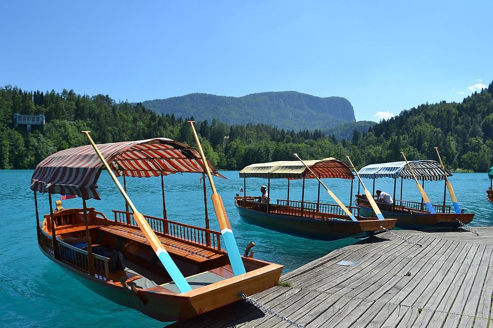 plenta boats in Lake Bled Slovenia