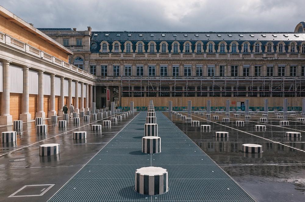 the Colonnes de Buren at the Palais Royal in Paris