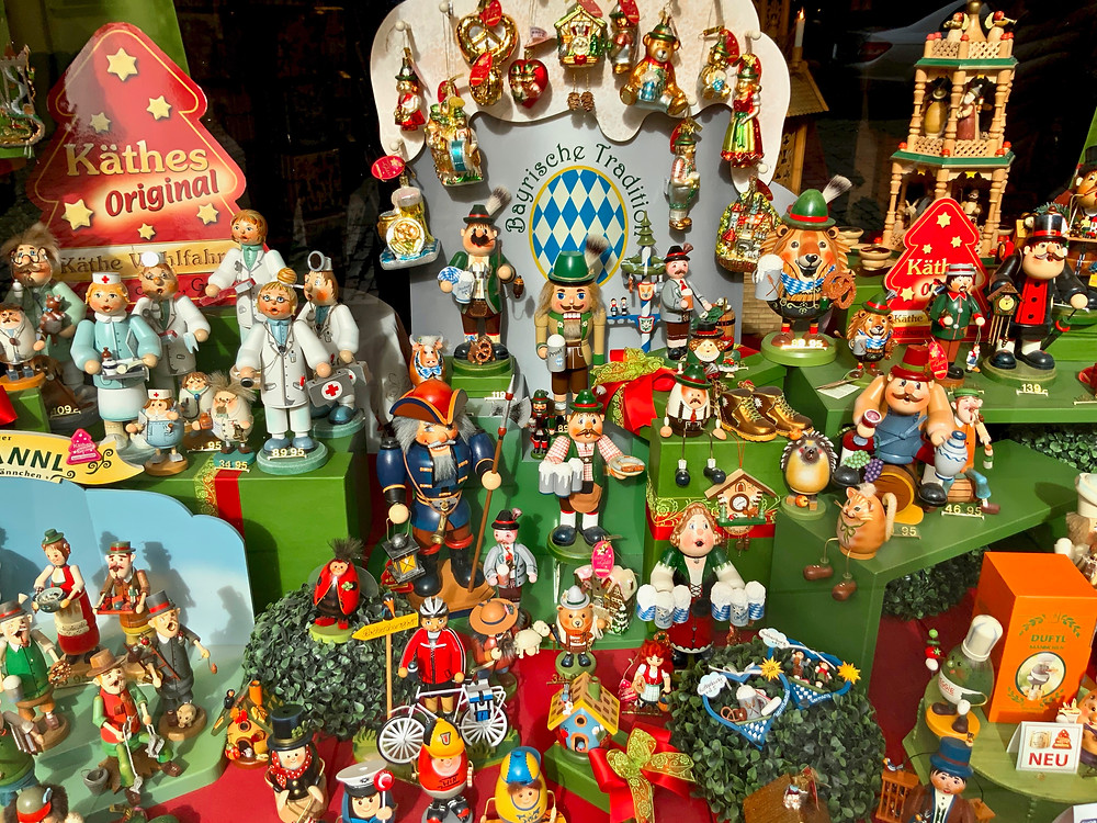 Christmas ornaments in the Kathe Wohlfahrt Shop in Rothenburg ob der Tauber Germany