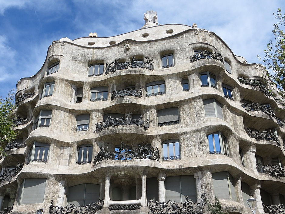 Gaudi's La Pedrera, also known as Casa Mila, in Barcelona