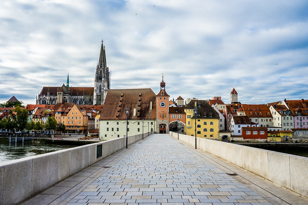 the stone bridge and old town of Regensburg