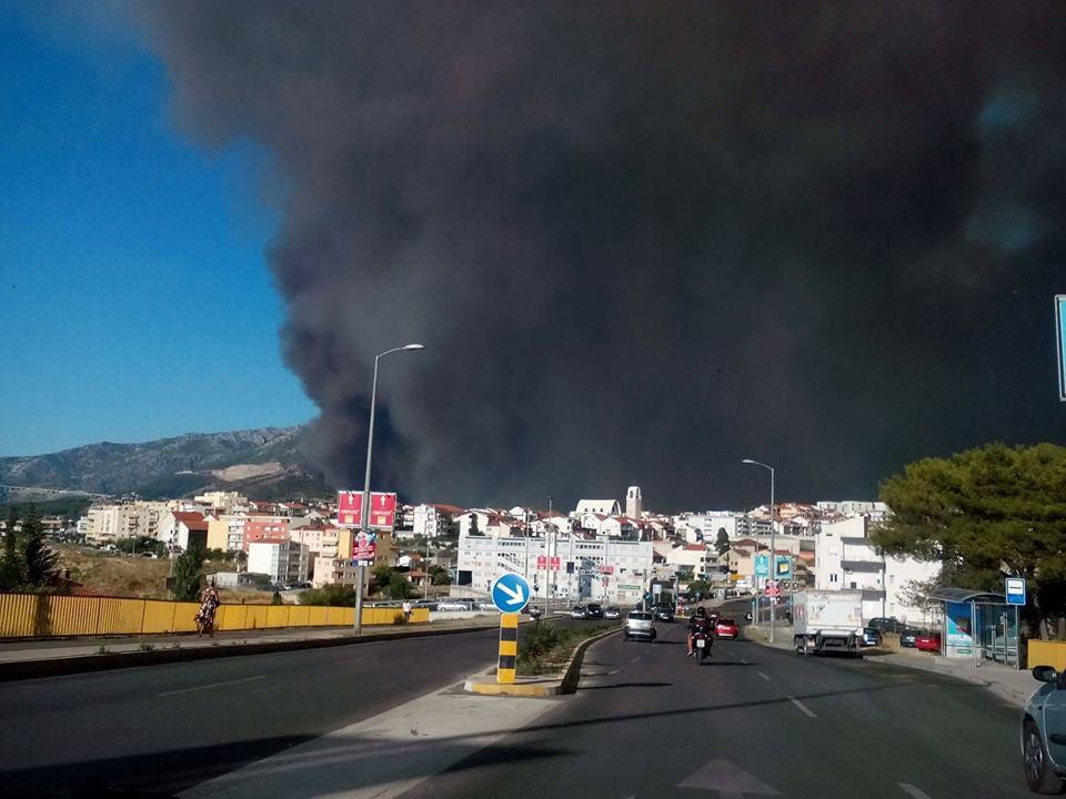 a forest fire in Split Croatia