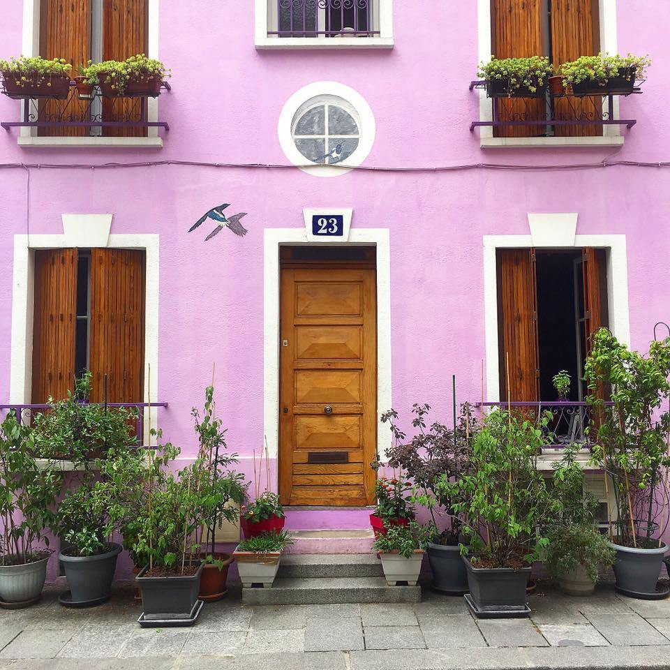 a pretty pastel row house on Rue Cremieux