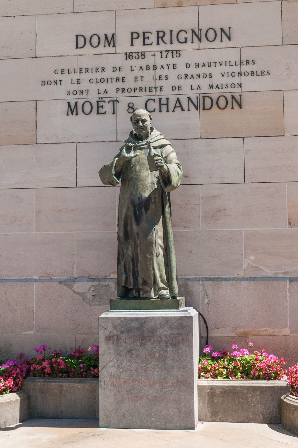 Statue of Dom Perignon outside the Moet & Chandon house in Epernay. I forgot to strike a pose.