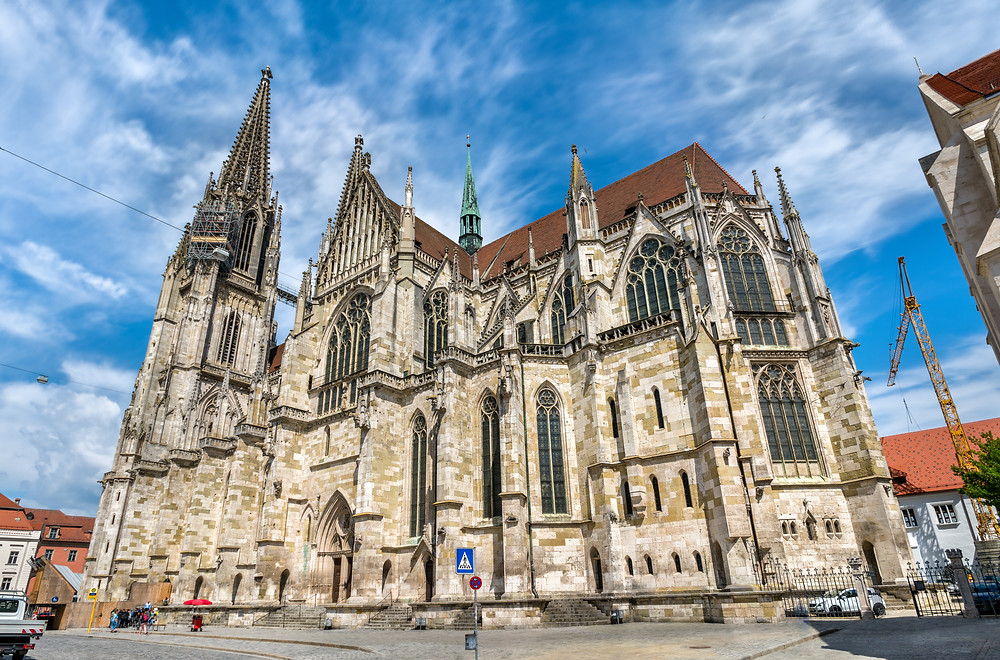 view of the towering 13th century Gothic cathedral in Regensburg