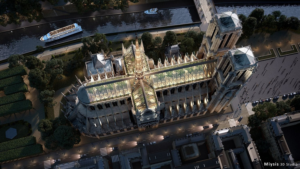 Miysis calls for Notre Dame's roof to become a public space with raised planting beds and full-size trees. (Photo illustration by Miysis)