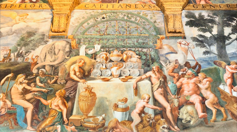 the wedding banquet in the Hall of Cupid and Psyche