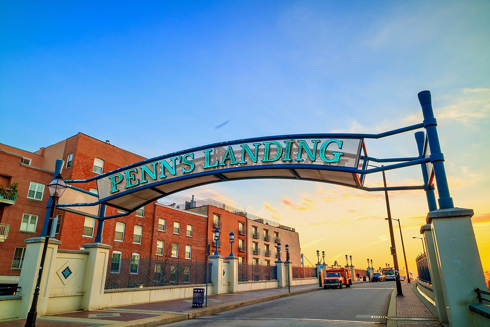 entrance to Penn's Landing in Philly