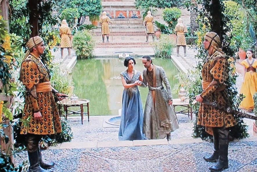 a water garden scene in Dorne filmed at the Almeria Alcazaba