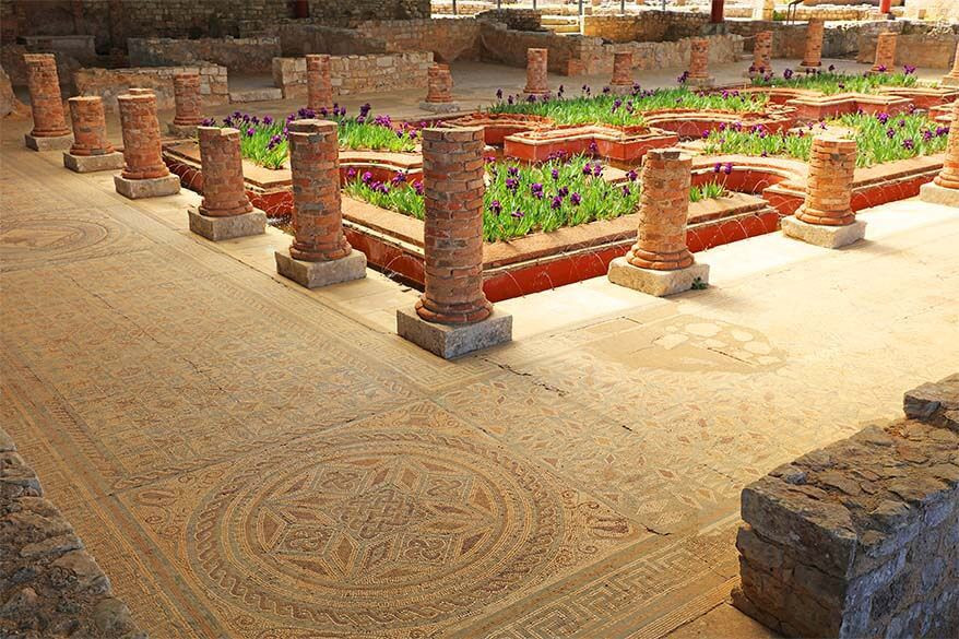 mosaic floor in the Roman ruins of Conimbriga