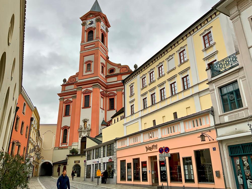 the 17th century parish church, St. Paul Church, in Passau -- so pretty in pink and cream colors