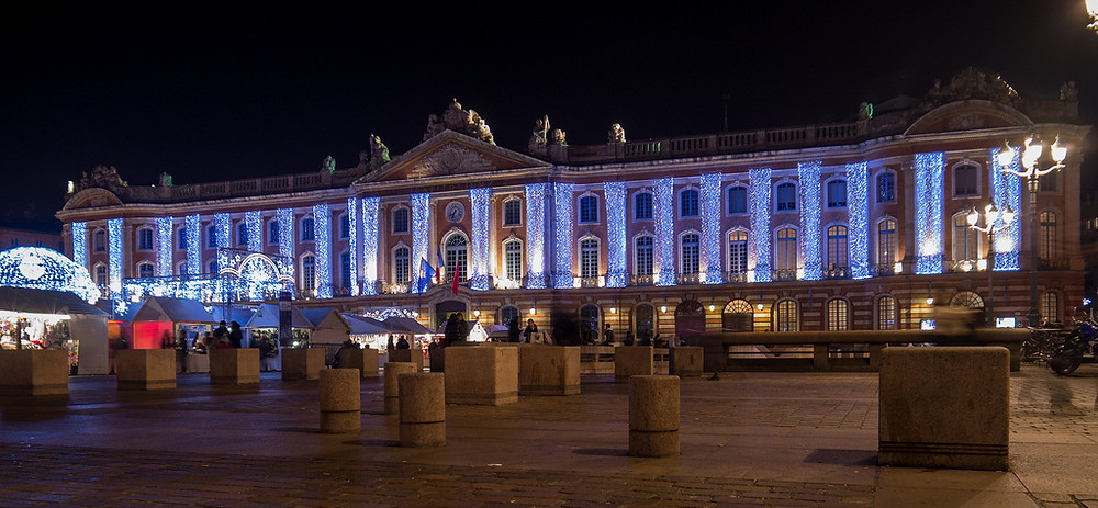 the Capitole in Toulouse, lit up at night