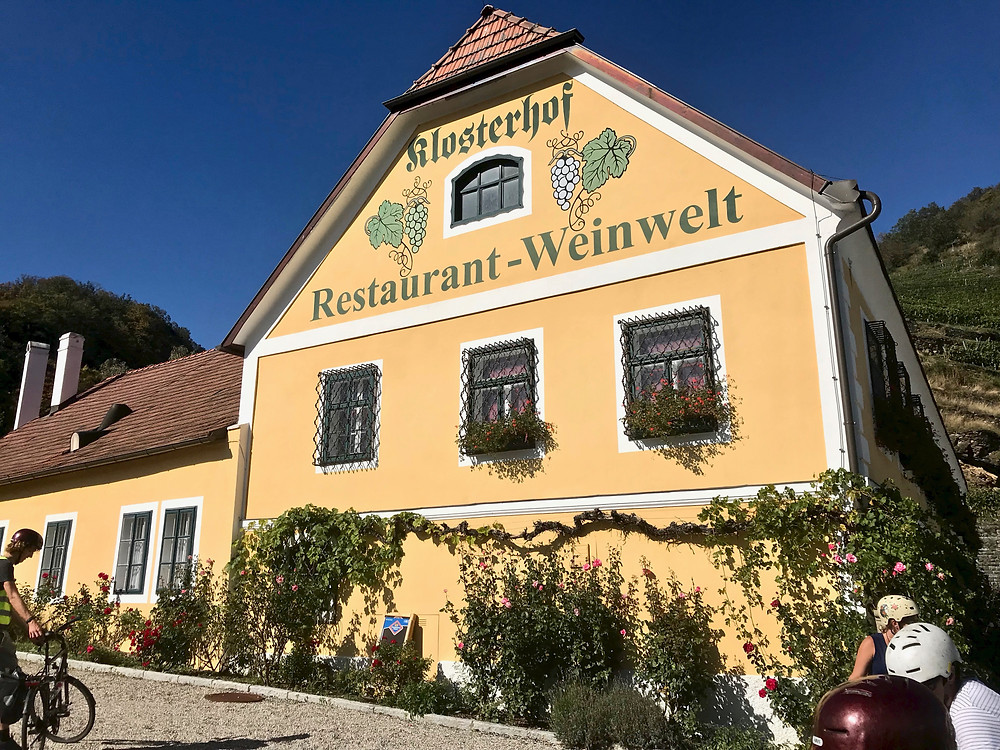 stopping for a glass of Grüner Veltliner at a vineyard in Spitz