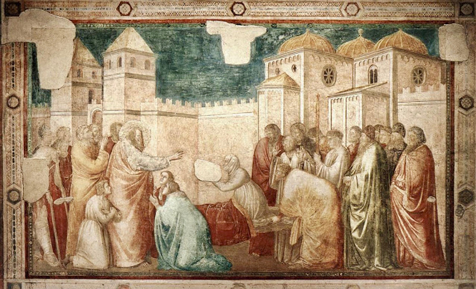 Giotto, Scenes from the Life of St. John the Evangelist: Raising of Drusiana, 1320
