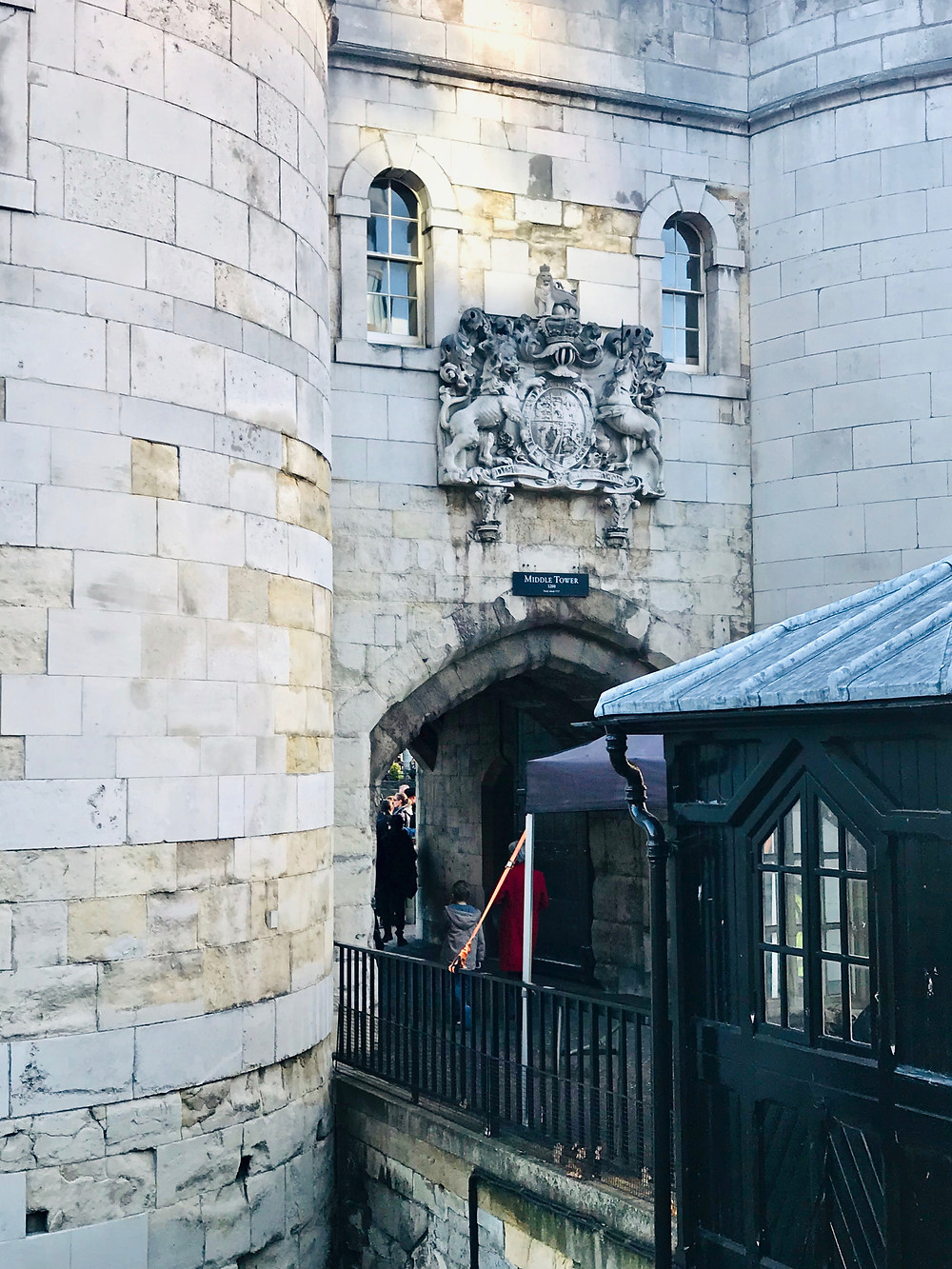 Middle Tower with the royal coat of arms above the arched entrance door
